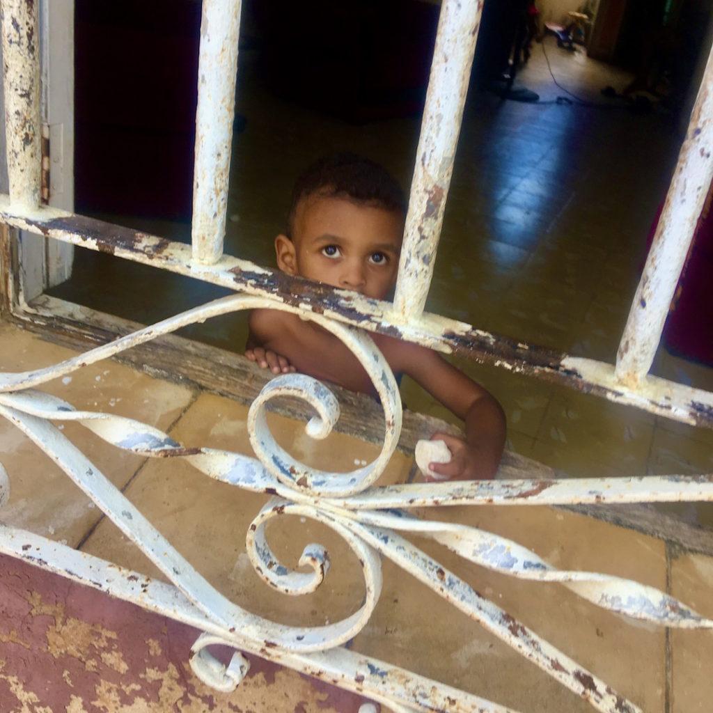 Boy at Gated Window